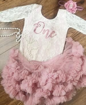 Kryssi Kouture First Birthday Ivory Long Sleeve Lace Leo Sets with Rose Gold One
