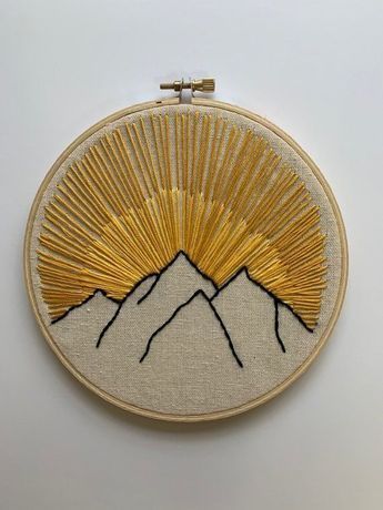 This is a handmade mountain embroidery. This embroidery is made-to-order. So it