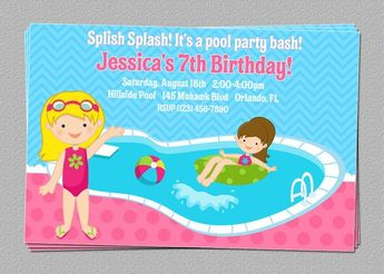 Custom Pool Swimming Party Birthday Invitations