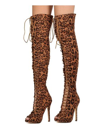 b2e3d1f476809 Women's Over the Knee Thigh High Stiletto Heel Faux Suede P