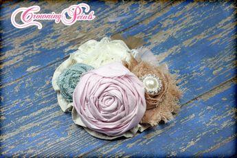 Hair Accessories, Blush, Vintage Pink, Aqua, Tan, Ivory Headband, Shabby Chic Hair Piece, Baby Hair Bow, Fabric Flower Brooch, Shabby Chic