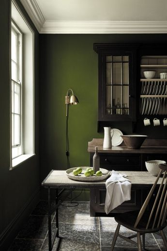 For a confident yet classic colour scheme, olive green is the way forward