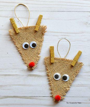 Burlap Reindeer Ornament