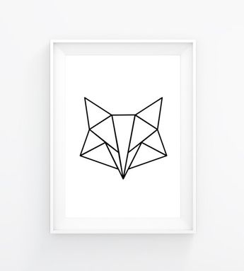 Artículos similares a Instant download poster, Poster geometric fox, white, Poster, triangle, fox , wall decor, modern, geometric en Etsy