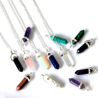 Women's Fashion Quartz Pendant Necklace Turquoise Statement Necklace Jewelry Wholesale Chakras Healing Stone Pendant Crystal