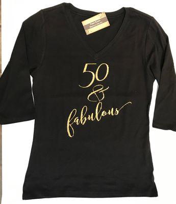 Custom Glitter Womens 50 Fabulous Glam 50th Birthday Shirt