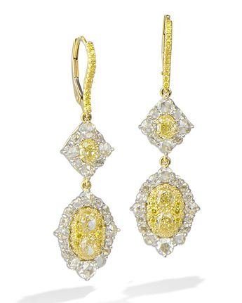 2056d7667 18 karat white gold drop earrings set with a 6.76 carat ova