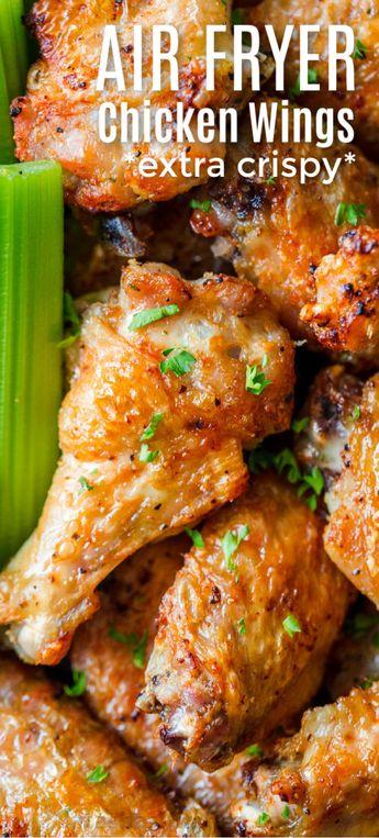 Air Fryer Chicken Wings Recipe with crisp salty skin, perfectly seasoned with garlic and lemon pepper. Air fried chicken wings cook so fast with no marinating! #airfryerrecipes #chickenrecipes #airfryer #airfryerchicken #airfryerchickenwings #chickenwings #crispchickenwings #chicken #airfryerrecipes #natashaskitchen