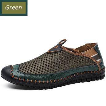 Over Size Summer Men Flats Mesh Casual Green Blue Male Sandals Slip on Cap Toe