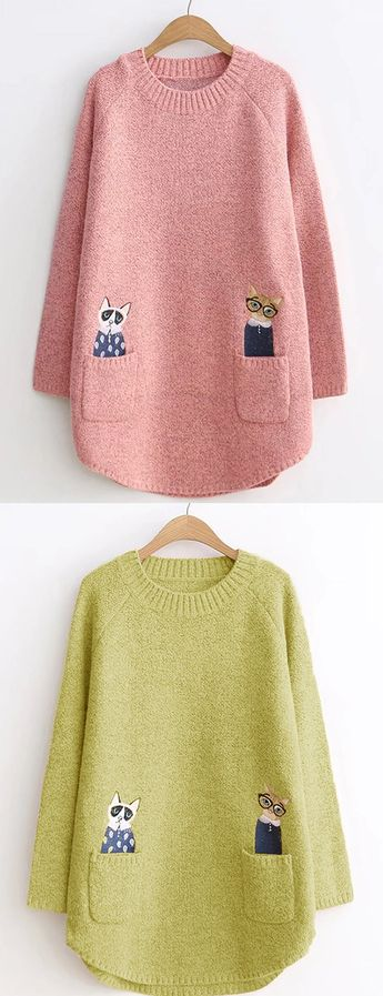 Cat Embroidery Long Sleeve Casual Sweaters