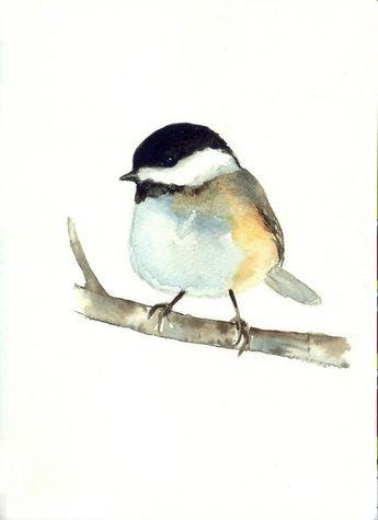 Chickadee Bird ORIGINAL Watercolor Painting Little Gray Bird Illustration Animal Nursery Art Hand Pa