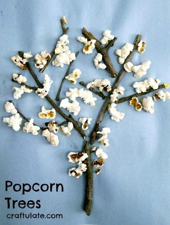 Popcorn Trees - a fun kids craft to make with sticks and leftover popcorn!