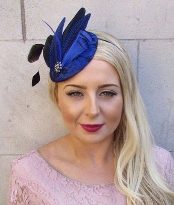 Royal Blue Black Feather Fascinator Pillbox Hat Races Wedding Hair Vintage  4026  587c13f5562