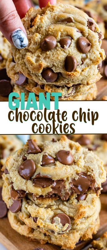 These are the absolute BEST Chocolate Chip Cookies - they're GIANT cookies!! With this easy cookie recipe they bake up gooey and soft and are so absolutely delicious.