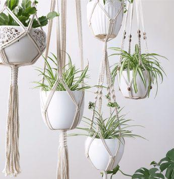 Handmade Hanging Macrame Planters, Set of 3