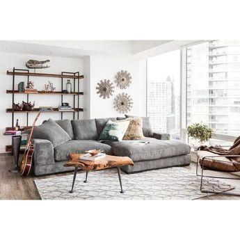Aurelle Home Reversible Deep Seat Contemporary Sectional Sofa (Grey), Gray