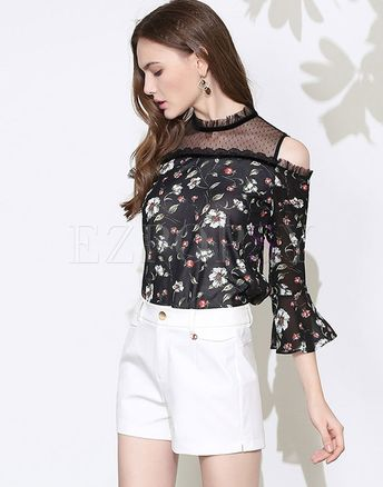 Elegant Chiffon Floral Print Off Shoulder Falbala Blouse