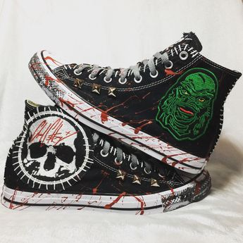 8aa29fe86953 Gill Man horror shoes from ChadCherryClothing. Converse All Star embroidery  shoes.
