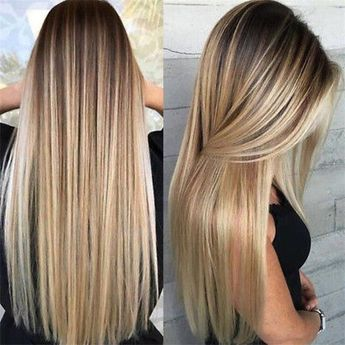 Details about Synthetic Long Straight Hair Ombre Blonde Wig Heat Resistant Full Wigs For Women