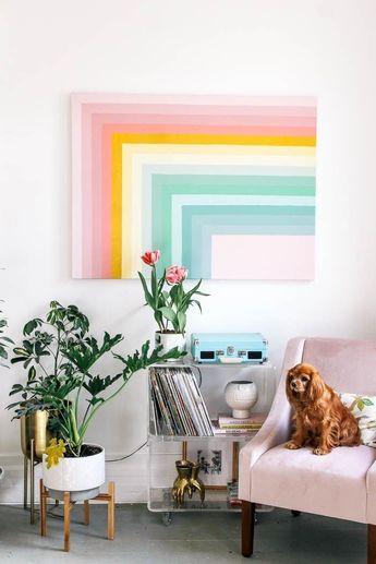 How to paint a DIY color block rainbow wall art