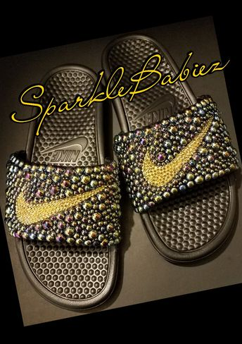 san francisco 225b9 71fea Custom Bling   Pearl Nike Slides  SparkleBabiez