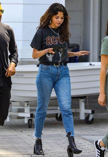 Selena Gomez cuts a casual figure AC-DC T-shirt in Santa Monica