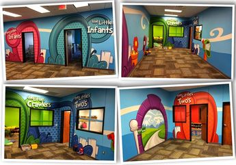 """Cross Timbers Community Church succeeded in communicating they love their """"Littles"""" with this whimsical digital wall covering design."""