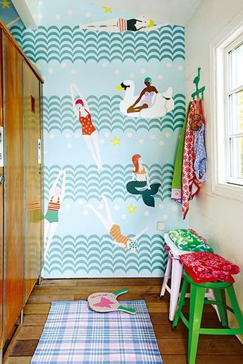 Mermaids, retro swimmers, and swan floats are the stars of this bright and bubbly mural. Scalloped stripes make up waves that stretch across the 5 panels. Mural measures 9 feet 2 inches tall x 7 feet 6 inches wide when assembled.