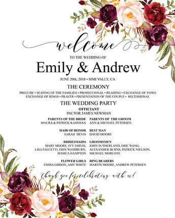 Burgundy Wedding Program Poster Template Large Ceremony Fully Editable