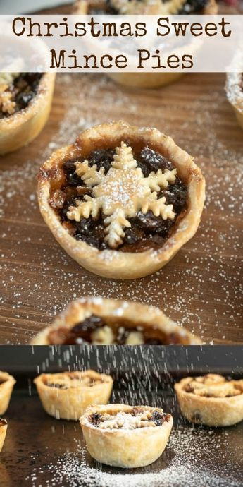 Christmas Sweet Mince Pies are a traditional British holiday dessert. Dried fruit, apple, citrus and brown sugar all soaked in brandy make up the filling inside homemade pie crusts. Individually made so everyone gets their own. #mincepies #sweetminepies