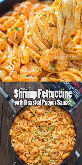 Rich and creamy, hearty and so flavorful, this Shrimp Fettuccine with Roasted Pepper Sauce tastes better than a restaurant-cooked meal. Made in under 30 minutes!  FOLLOW Cooktoria for more deliciousness! #shrimp #seafood #pasta #dinner #lunch #mealprep #easyrecipe #recipeoftheday