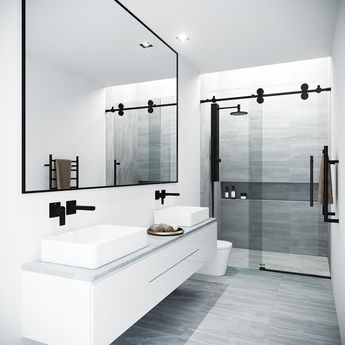 VIGO Elan 68 to 72 in. x 74 in. Frameless Sliding Shower Door in Black with Clear Glass and Handle-VG6041MBCL7274