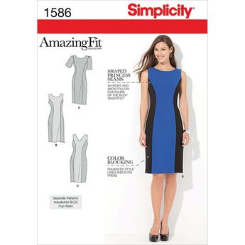 Simplicity Pattern 1586AA 10-12-14-1-Misses Dresses