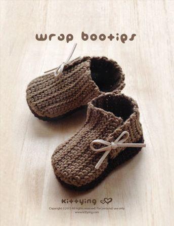 Crochet Ruffled Coral Baby Booties Pattern Newborn Boots P