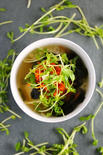 Vegan Miso Soup with Rice, Carrots, & Pea Shoots