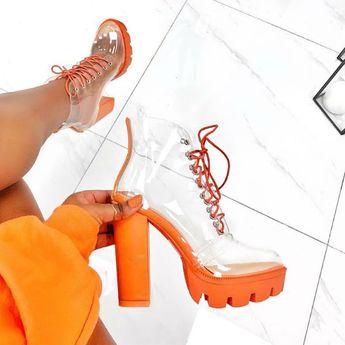 Clear Chunky High Heel Boots