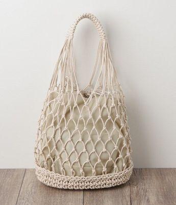 Cotton Cord Sheer Crochet Bag (B / Natural)-Chon Nitivit - #bag #cord #cotton #Crochet #NaturalChon #Nitivit #Sheer