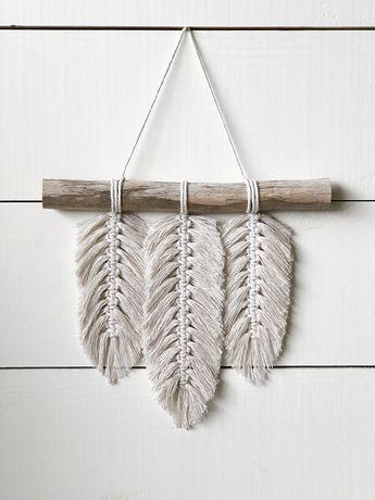 Macramé petite Tenture murale - plumes - macramé plumes - macramé Home Decor - Home Decor - Boho Decor - Boho Art - Boho plumes - en macramé