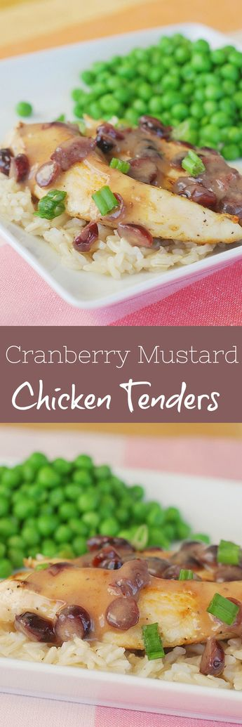 Chicken with Cranberry Mustard Sauce - easy sauteed chicken with a delicious sweet and spicy cranberry mustard sauce! A kid favorite!