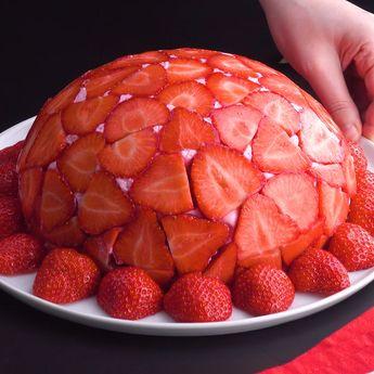 Cúpula de fresas: un postre suave con mucha fruta #pastel #fresas #mousse #gelatina #cupula #tarta