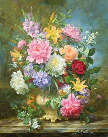 Peonies And Mixed Flowers Print By Albert Williams