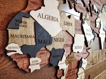 Wood Wall Art, Wall Map of the World Map, Wooden Travel Push Pin Map, World Map, Large Office, Wood