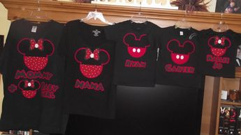 Red Black Minnie Mickey Mouse - Mommy & Baby Disney Birthday Family Custom T-Shirt Personalized Applique Head, $18.00