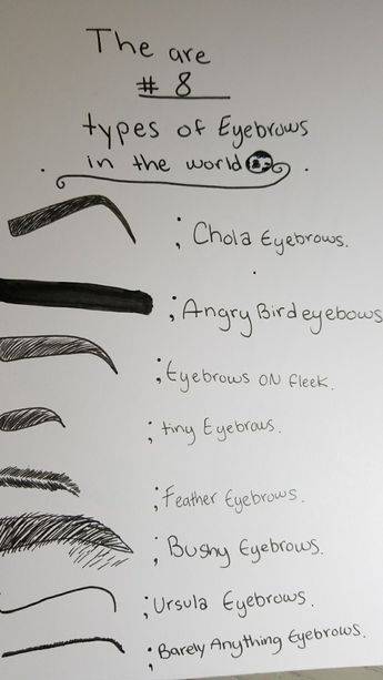 There are 8 Types of eyebrows in the  World.