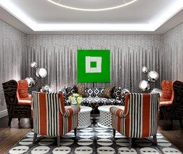 The Sandra Blow room at Soho Hotel. A grey graphic wallpaper and a black and white graphic carpet on the floor. There is a set of orange striped chairs, a black and white sofa and orange chairs are set around a coffee table. On the back wall is a bright green painting by Sandra Blow. #inspiration #homedecor #interiordesign #color #colorpalette #colorpaletteideas #colorscheme #colorschemeideas #interiorcolorpalette #interiorcolorschemes #interiorcolorpaletteideas #interiorcolorschemeideas