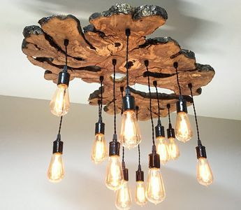 Large Live Edge Olive Wood Slab Chandelier Light Fixture with Edison bulbs - Modern/Industrial/Rustic/Earthy 0029*