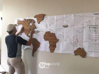Installing MapaWall wooden world map Zebrano with Hawaii 1