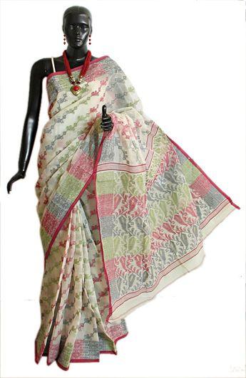 6619acdf50 Ivory Bengal Cotton Tangail Saree with Woven Dhakai Jamdani Design All-Over