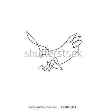 One line eagle design silhouette.Hand drawn minimalism style vector illustration