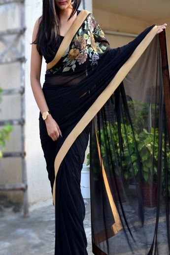 2c36c7ef43 Black Net Hand-Painted Floral Saree - Sarees Online in India   Colorauction